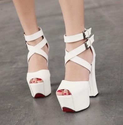 6f681b0065f7d1 Qoo10 - Stylish Thick Heel 15CM Ladies High Sandal (Size34-39) Black ...