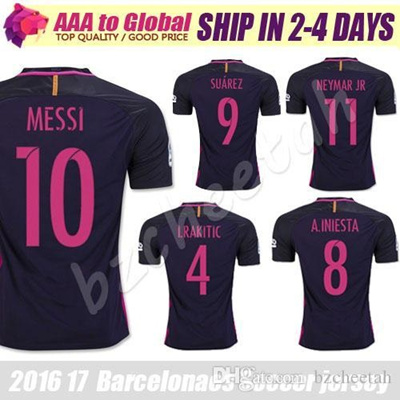 hot sale online 780d4 abf76 SUAREZ Jerseys 2017 Camisas Purple Neymar Messi INIESTA PIQUE Soccer Jersey  16 17 Camiseta de futbol