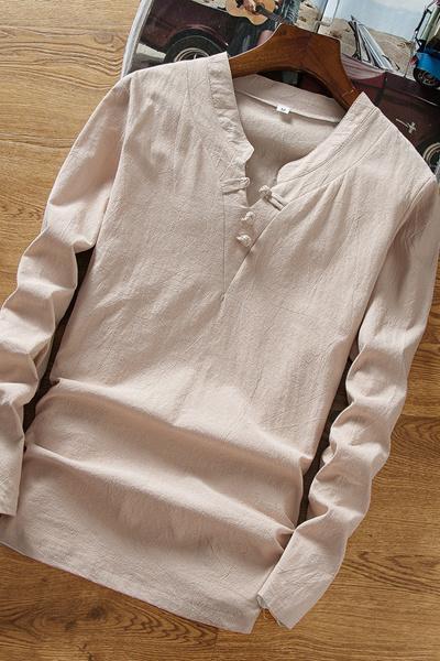 8158abe3861 Summer Autumn men s linen long sleeve T-shirt Day series Retro V-neck
