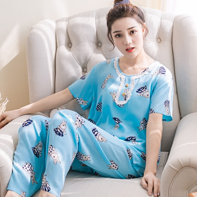 Qoo10 - Summer cotton silk pajamas women short sleeve long pants clothing  suit...   Underwear   Sock. e697606af