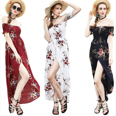 3478e23e786 Summer Fashion Women Tube Top Backless Sexy Boho Off Shoulder Beach Floral  Print Chiffon Long Dress