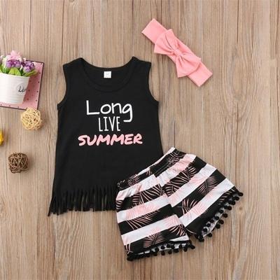 49fa06e90 Qoo10 - Summer Kids Baby Girl Vest Sleeveless T Shirt+Short Trousers ...
