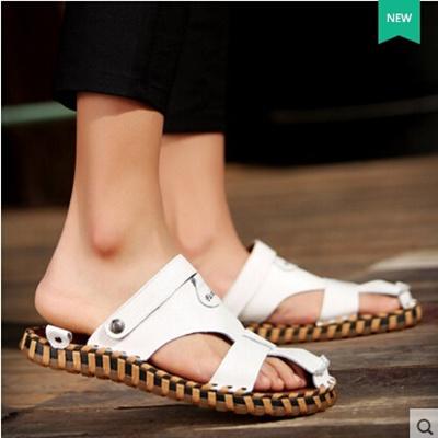 c756cf461da Qoo10 - Summer mens genuine leather hand stitching sandals   Men s Bags    Shoes