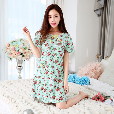 Qoo10 - Summer new girl summer floral thin cotton short sleeve Pajamas  one-pie...   Women s Clothing 56261d870