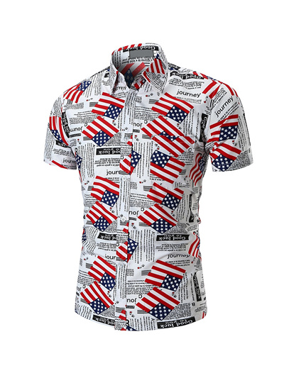 d7d58de681 Qoo10 - Summer New MenS Beach Shirt Personality Printing Trend Wild Short-Slee...    Men s Apparel