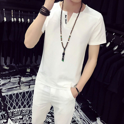 da1953e0fe Qoo10 - Summer New Short-Sleeved T-Shirt Nine Pants Suit Cotton And Linen  MenS...   Men s Apparel