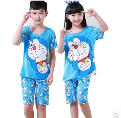 Summer short-sleeved childrens pajamas girls boys home clothing cartoon  cotton childrens baby thin 3e099b35c