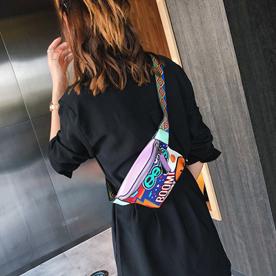b662758e844 Summer small bag female 2019 new wave personality broadband chest pocket  Korean version of the wild girl Messenger bag