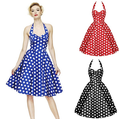9e8e12bf65d Summer Style Retro Woman Vintage Dress Big Swing Polka Dot Backless  Rockabilly Plus Size