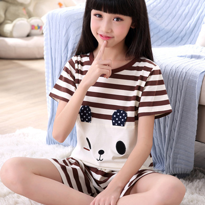 Qoo10 - Summer thin girls boys girls pajamas cotton short sleeves home wear  ca...   Underwear   Sock. d84ae4dbd