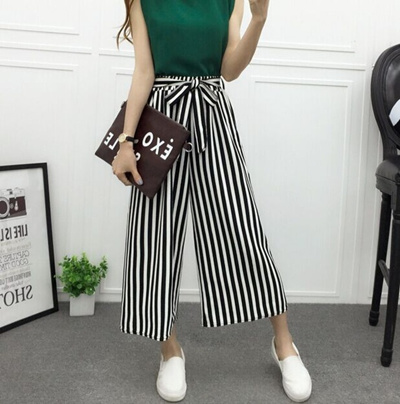 a4c3a20ef0b0 Qoo10 - Summer Women Black white stripes Pants Casual High Waist Flare Wide  Le...   Women s Clothing