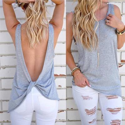 a53cbb26514a Qoo10 - Summer Women Sexy Sleeveless Backless Shirt Knotted Tank Top Blouse  Ve... : Women's Clothing