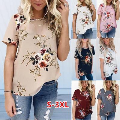 82b7fc6bf3f2b Qoo10 - Summer Womens Casual Tops Blouse Short Sleeve Crew Neck Floral T- Shirt...   Women s Clothing