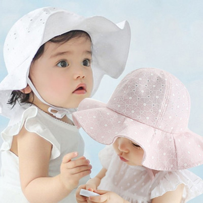 f115c1a0216 Qoo10 - Sun Cap Floral Print Summer Outdoor Baby Girl Pink White Beach  Bucket ...   Kids Fashion