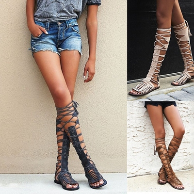 7e3022e739e Qoo10 - Sun Seeker Tall Sandals Women Bohemia Bandage Tall Sandals  Gladiators ...   Women s Clothing