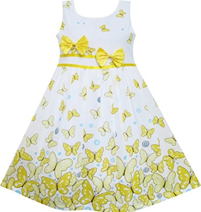 7fdbdd0d5d7 Qoo10 - Sunny Fashion Girls Dress Rose Flower Double Bow Tie Party Sundress-CN...    Kids Fashion