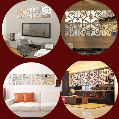 Super Sale /Mirror Wall Sticker REFLECTIVE Reflect Light And Flower  Luxury  Home