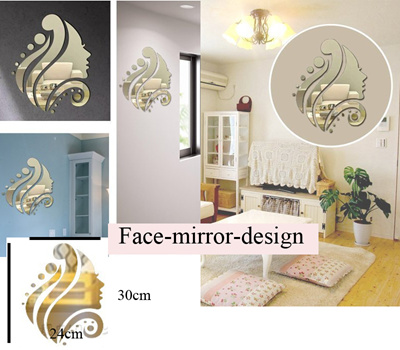 Super Mirror Wall Sticker Reflective Reflect Light And Flower Luxury Home