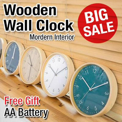 ☆Super Sale☆ Premium Wall Clock / Wooden Quiet Wall Clock / Wood Frame /