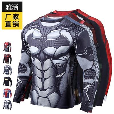 7480b753 Qoo10 - Superman spider man Batman American captain men s body tight short  sle... : Men's Clothing