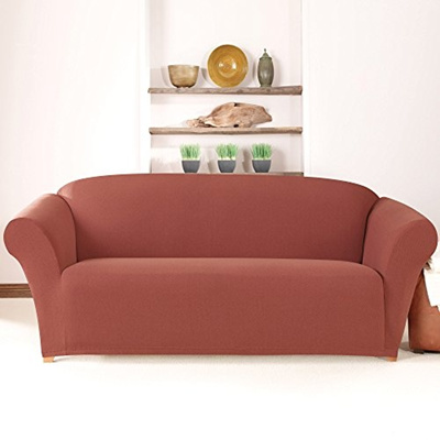 Sure Fit Stretch Calvary Twill Sofa Slipcover, Paprika