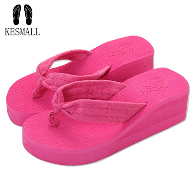 3b77bd7d9 Sweet fashion flip flops slope with Student colorful Non-slip resort beach  sandal and heels