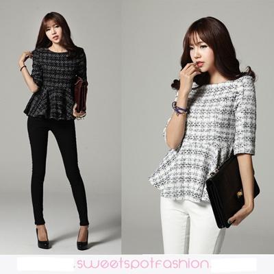 qoo10  sweetspot peplum tweed blouse/ stylish office