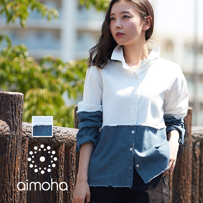 470240aecfc Qoo10 - Switch denim shirts denim shirt ladies tops bi color collar shirt  blou...   Women s Fashion