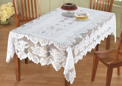 Tablecloths 100% Polyester, Machine Washable Tablecloth White Floral Lace  Square Tablecloth (Size: