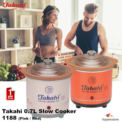 Takahi 0.7L Slow Cooker - 1188 (Available in Red / Pink) (1
