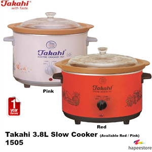 Takahi 3 8L Slow Cooker - 1505 Available in Red Pink 1 Year Warranty image