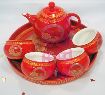 Wedding Teapot Set Chinese Tea Double Happiness Pot Xi Yam Cha Ceremony Fu Gui