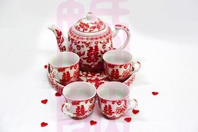 Wedding Teapot Set Chinese Tea Double Happiness Pot Xi Yam Cha Ceremony