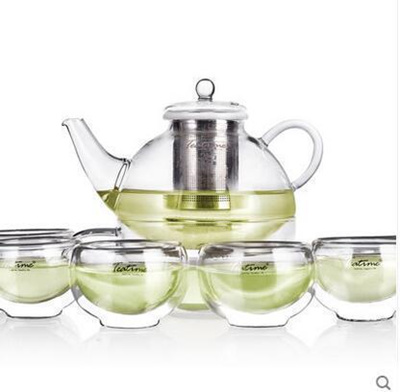 222 & Teatime glass tea set of teapot flower pot heat a large capacity filter glass teapot