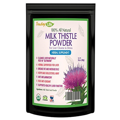 Teatox Life Milk Thistle for Liver detox cleanse and liver rescue support  without pills - 60 grams -
