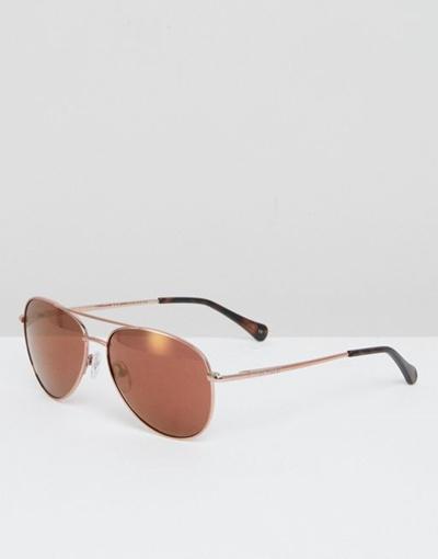 d63dd864722 Qoo10 - Ted Baker Nova Aviator Sunglasses In Rose Gold   Men s Bags   Shoes