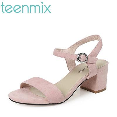 daf436c0294 Qoo10 - teenmix 2017 Summer cashmere skin elegant Block Heel simple word  with ...   Men s Bags   Sho.