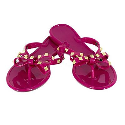 ad2145800 Qoo10 - (Tengyu) Womens Rivets Bowtie Flip Flops Jelly Thong Sandal Rubber  Fla...   Shoes