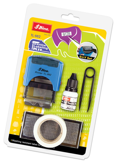 Textile Labeling Kit Fabric Ink Self Inking Stamp TL882 Black