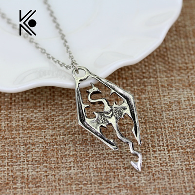 the dinosaur pendant necklace skyrim elder scrolls dragon pendants vintage  necklace men/women