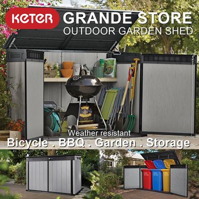 [KETER] Grande Store Large Outdoor Garden Shed   Waterproof Bbq Poolside Bicycle Bin FREE & Qoo10 - Grande Store : Furniture u0026 Deco