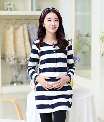 a1a969e5f9fb4 The new Autumn Korean fashion maternity pregnant women cotton striped long-sleeved  t-shirt