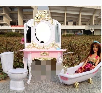 The new Barbie doll dresser + toilet + bathroom furniture suite bath girl  toy play house DIY—WWJJWJ_