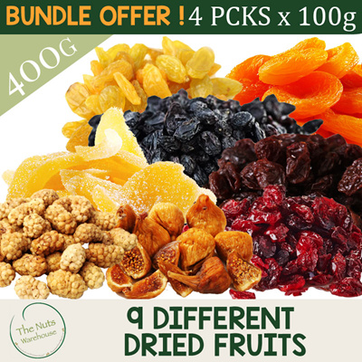 The Nuts WarehouseMIX AND MATCH 4 X 100G DRIED FRUITS!!! 9 Different  Choices! [The Nuts Warehouse]