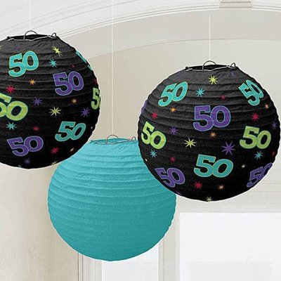 The Party Continuous 50th Birthday Hanging Round Lanterns Decoration Pack Of 3 Multi