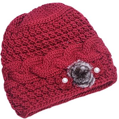 1c68653d838 Qoo10 - Thenice THENICE Womens Mother elderly Winter Skull Cap Fur Flowers  vel...   Fashion Accessor.