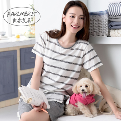 Qoo10 - Thin cotton summer Pajamas girl summer HOME DRESS Korean stripes  short...   Women s Clothing 154f3414a
