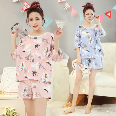 Qoo10 - Thin summer short sleeve girls Pajamas two piece cotton modal  Korean c...   Underwear   Sock. e123c0768