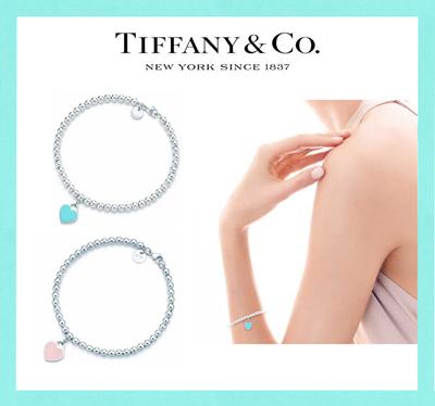 Tiffany Return To Bead Bracelet Blue Enamel Finish Pink
