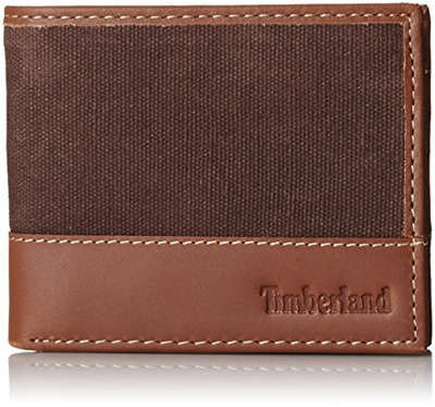 9de4be4e50a1 AUTHENTIC Timberland Mens Canvas and Leather Wallet Bifold Passcase Brown  with Gift Box IN STOCK